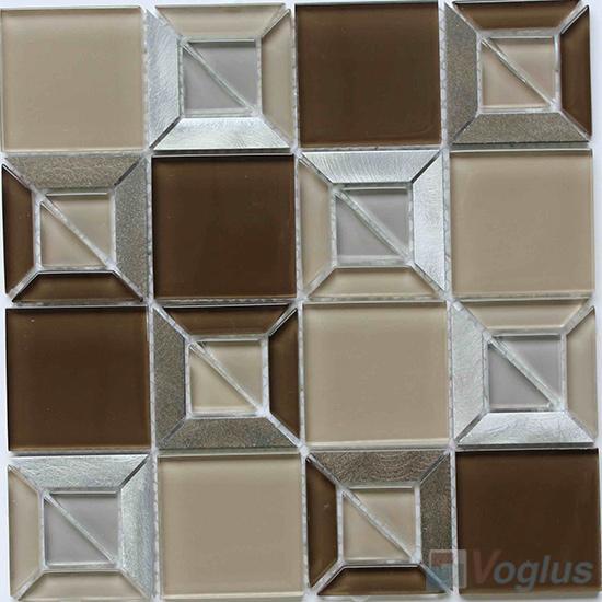 Browny Triangle Shape Mix Square Glass Mosaic VG-UTS96