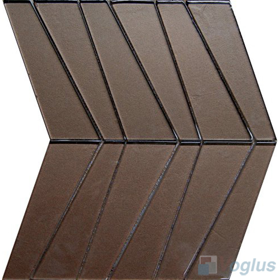 Chocolate Large Trapezia Shape Glass Tiles VG-UTP97
