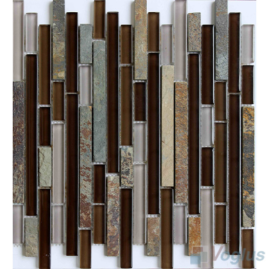 Coffee Linear Glass Stone Mixed Glass Tile VB-GSL85