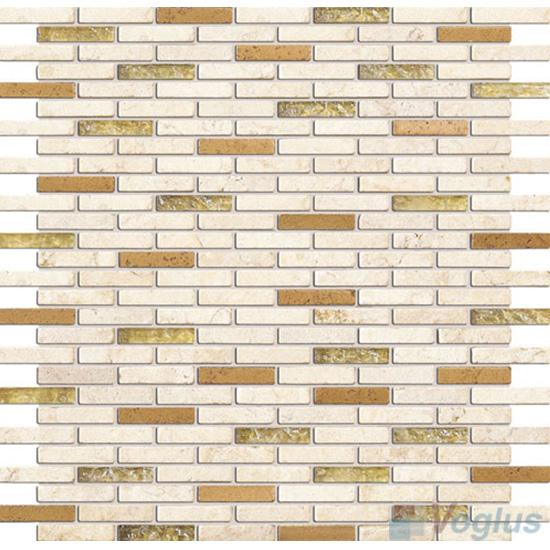 Cream Mini Brick Glass Stone Mosaic VB-GSJ90
