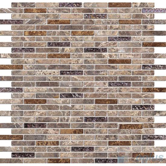 Dark Emperador Mini Brick Glass Stone Mosaic VB-GSJ85