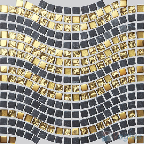 Gold Metal Black Marble Wavy Waist Line Glass Mosaic Tile VG-UWL89