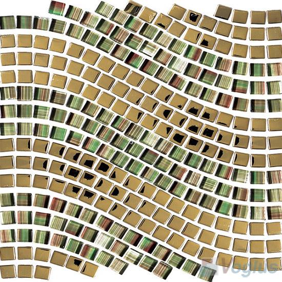 Gold Metal Wavy Waist Line Glass Mosaic Tile VG-UWL96