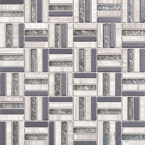 Gray Quartet Glass Stone Mosaic VB-GSJ97