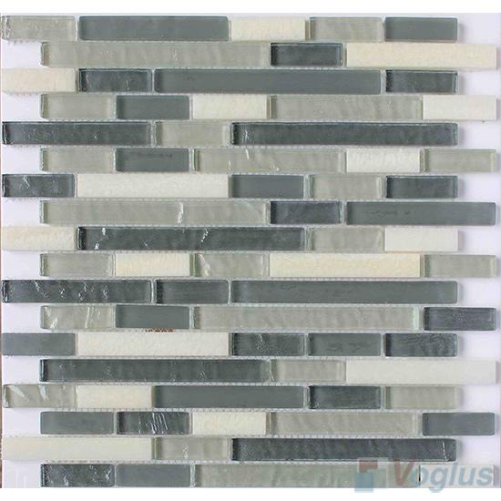 Gray Strip Stone Glass Tiles VB-GSN90