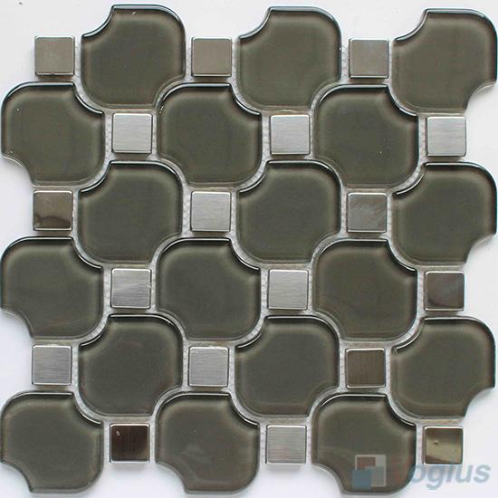 Gray Unique Shape Water Jet Glass Tile VG-UWJ89