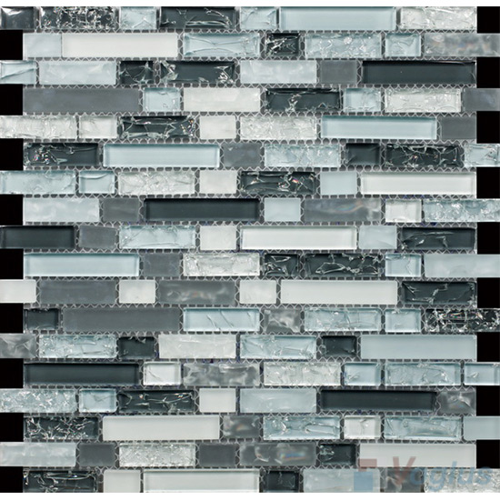 Sample Black Marble Crackle Glass Linear Mosaic Tile: Grayblue Linear Ice Crackled Glass Tiles VG-CKL99
