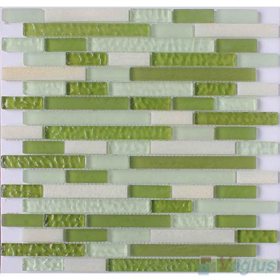 Green Land Strip Stone Glass Tiles VB-GSN91