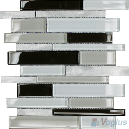 Horizontal Linear Aluminum Mixed Glass Mosaic Tile VB-GMY91