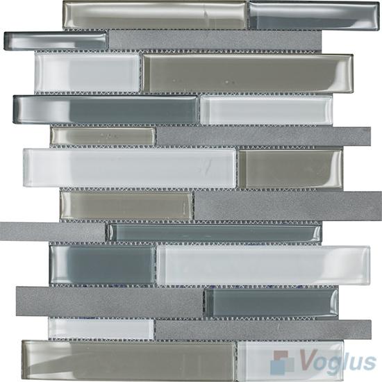 Horizontal Linear Aluminum Mixed Glass Mosaic Tile VB-GMY92