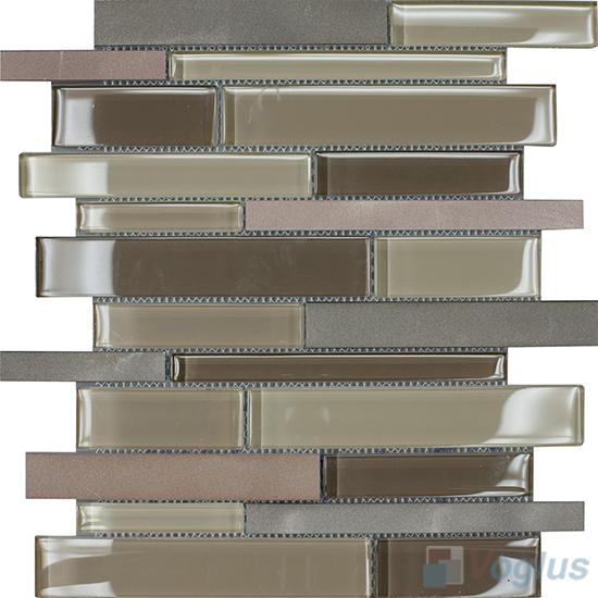 Horizontal Linear Aluminum Mixed Glass Mosaic Tile VB-GMY93