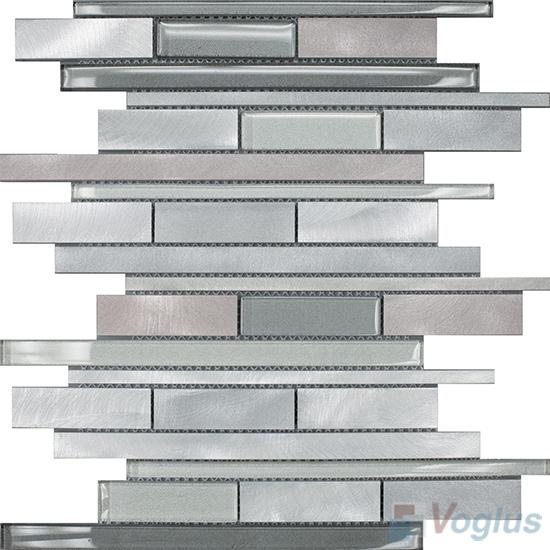 Horizontal Linear Aluminum Mixed Glass Mosaic Tile VB-GMY94
