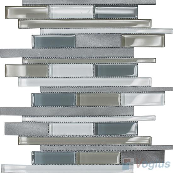 Horizontal Linear Aluminum Mixed Glass Mosaic Tile VB-GMY95