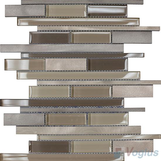 Horizontal Linear Aluminum Mixed Glass Mosaic Tile VB-GMY96
