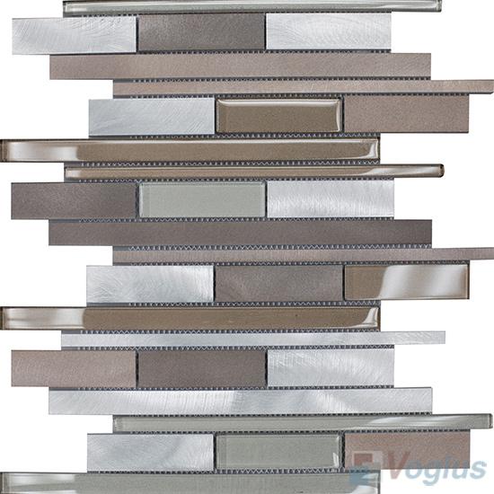 Horizontal Linear Aluminum Mixed Glass Mosaic Tile VB-GMY97