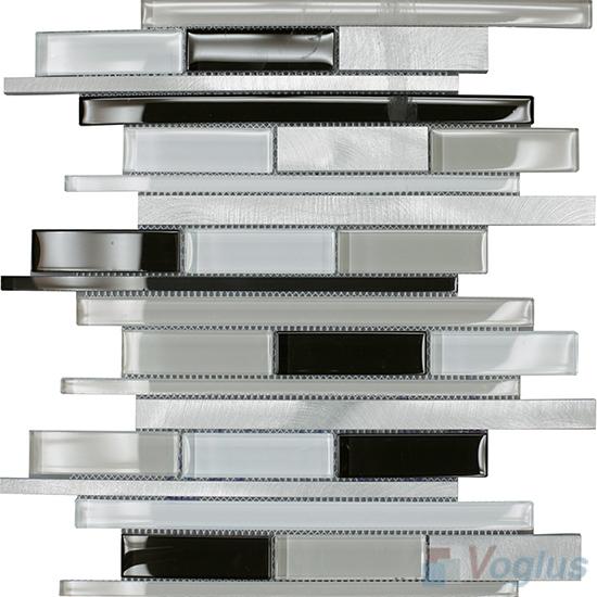 Horizontal Linear Aluminum Mixed Glass Mosaic Tile VB-GMY98