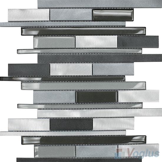 Horizontal Linear Aluminum Mixed Glass Mosaic Tile VB-GMY99