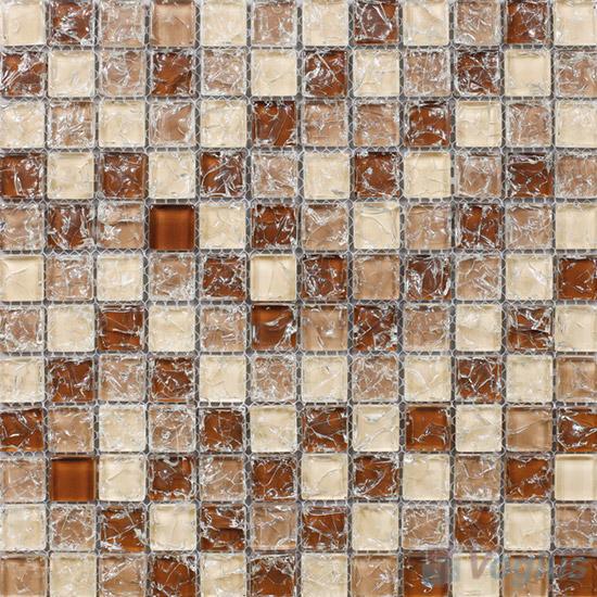 Light Brown 1x1 Ice Crackle Mosaic Tiles VG-CKB94