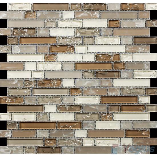 Light Brown Linear Ice Crackled Glass Tiles VG-CKL98