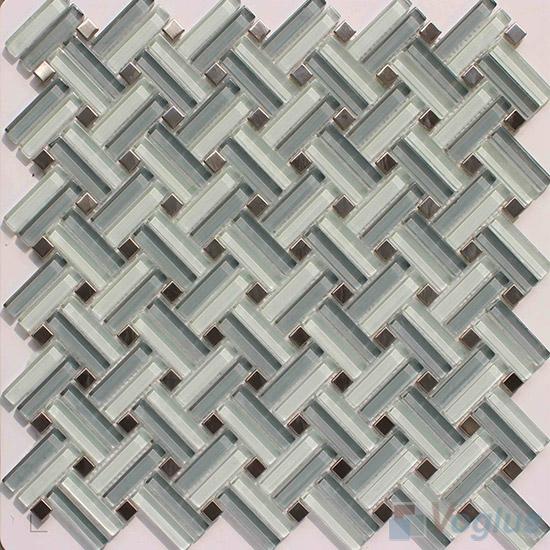 Light Gray Herringbone Cross Weave Glass Mosaic VG-UCW94
