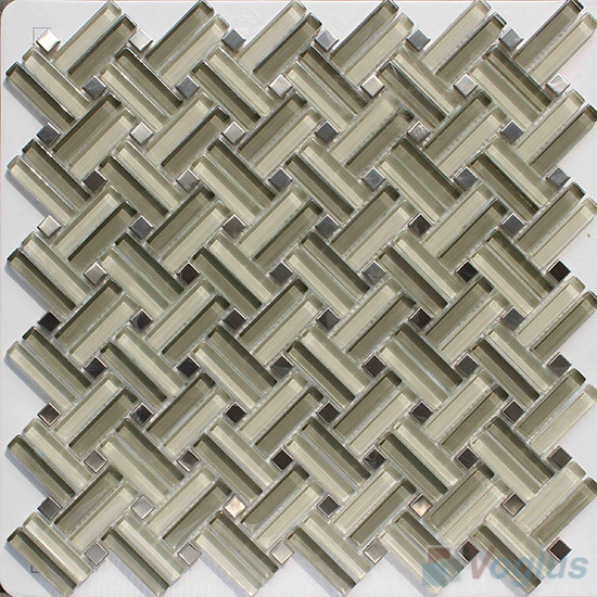 Light Olive Herringbone Cross Weave Glass Mosaic VG-UCW95