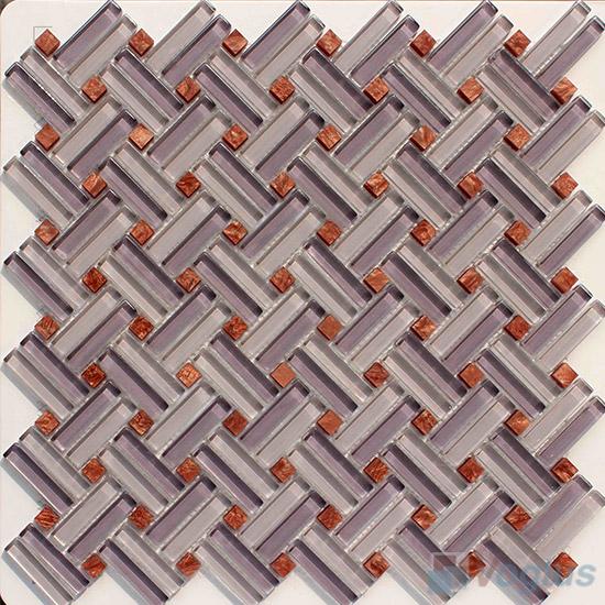 Light Purple Herringbone Cross Weave Glass Mosaic VG-UCW96