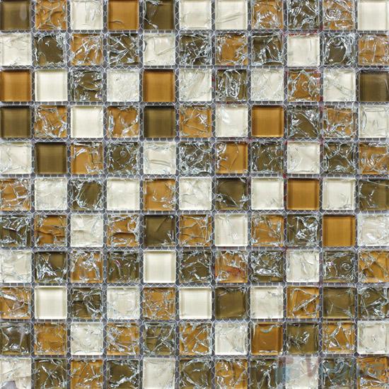 Olive Brown 1x1 Ice Crackle Mosaic Tiles VG-CKB90