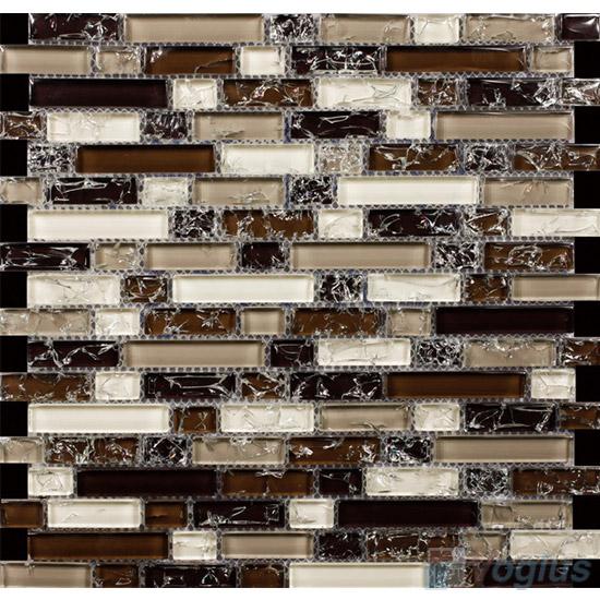 Palm Feet Linear Ice Crackled Glass Tiles VG-CKL96