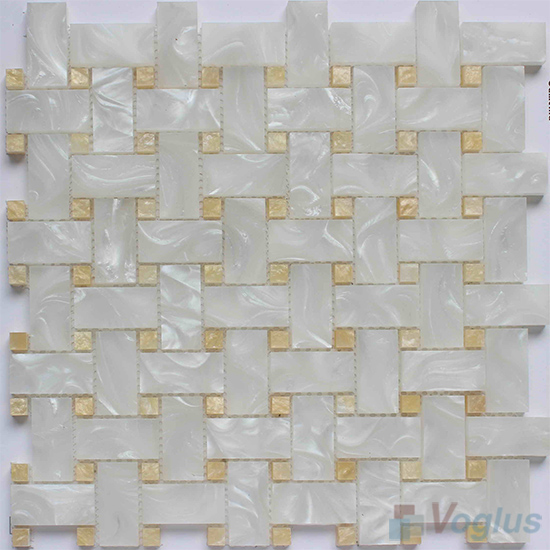 Pearl Shell Basket Weave Glass Mosaic VG-UBW96