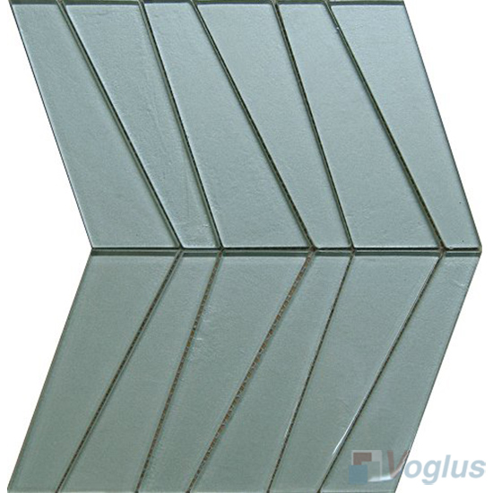Powder Blue Large Trapezia Shape Glass Tiles VG-UTP98