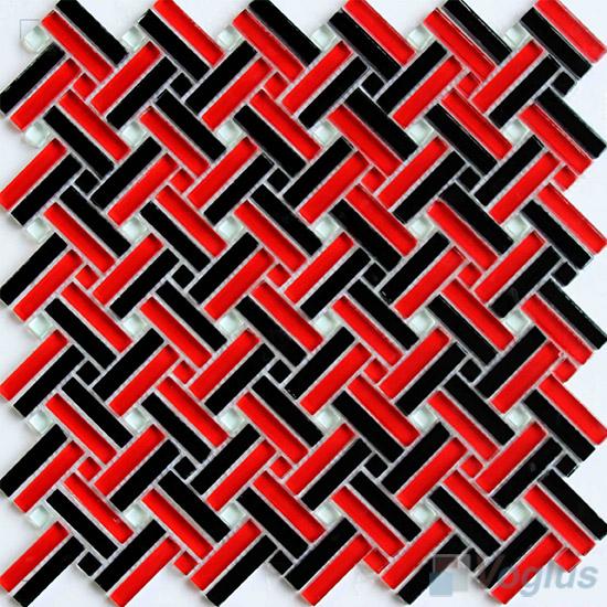 Red Black Herringbone Cross Weave Glass Mosaic VG-UCW97