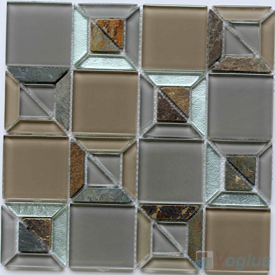 River Shape Mix Square Glass Mosaic VG-UTS94