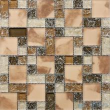 Brown Blend Magic Cube Ice Crackle Glass Tiles VG-CKM81