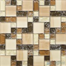 Brown Mixed Magic Cube Ice Crackle Glass Tiles VG-CKM83