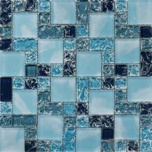 Deep Sky Blue Magic Cube Ice Crackle Glass Tiles VG-CKM82