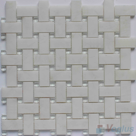 White Marble Basket Weave Glass Mosaic VG-UBW97