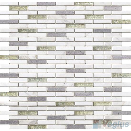 White Mini Brick Glass Stone Mosaic VB-GSJ89