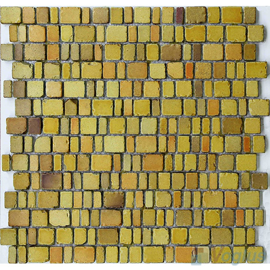 Gold Harvest Rusty Rock Glass Mosaic Tiles VG-URY97
