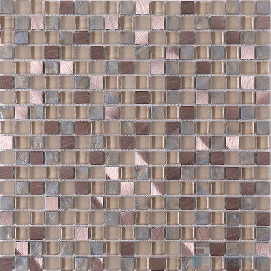 15x15mm Glass Aluminum Mosaic Tile VB-GMA86