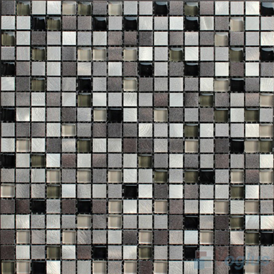 15x15mm Glass Aluminum Mosaic Tile VB-GMA87