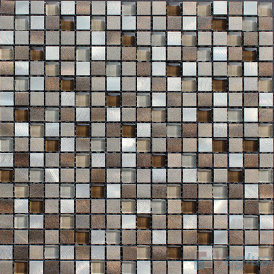 15x15mm Glass Aluminum Mosaic Tile VB-GMA88