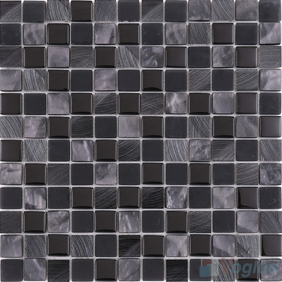 Black 1x1 Glass Aluminum Mosaic VB-GMN87