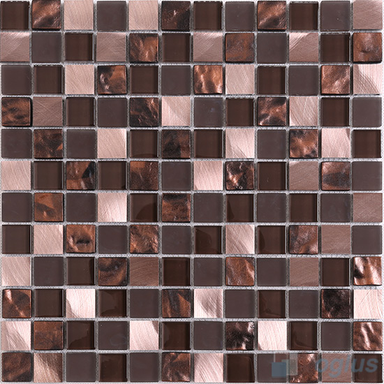 Coffee 1x1 Glass Aluminum Mosaic VB-GMN86