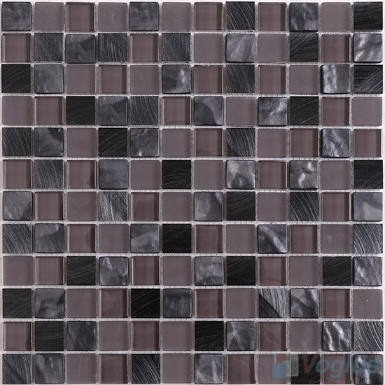 Dark Brown 1x1 Glass Aluminum Mosaic VB-GMN89
