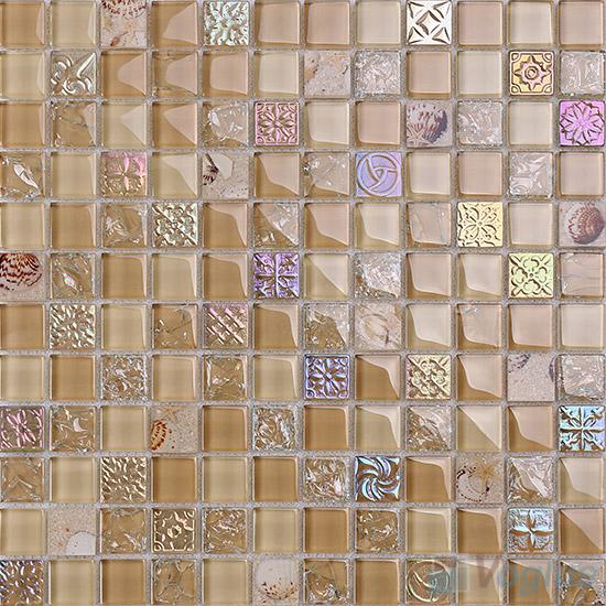 1x1 Glass Resin Mosaic Tiles VB-GRB87