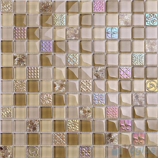 1x1 Glass Resin Mosaic Tiles VB-GRB88