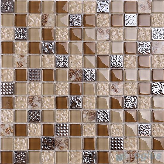 1x1 Glass Resin Mosaic Tiles VB-GRB90