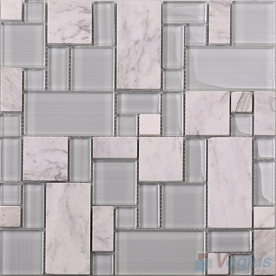 French Pattern Magic Glass Mixed Ceramic Mosaic Tile VB-GCM85