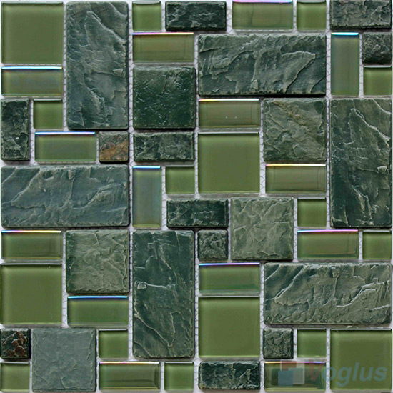 French Pattern Magic Glass Mixed Ceramic Mosaic Tile VB-GCM86
