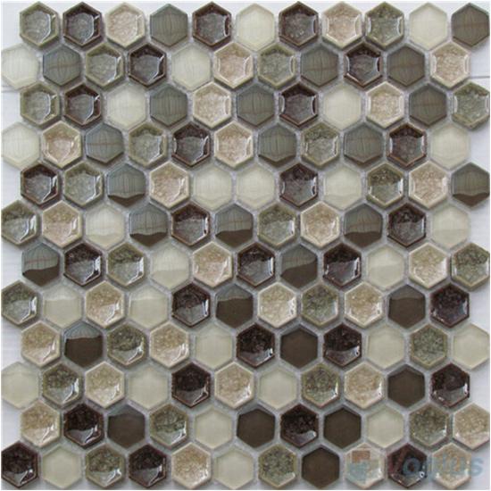 Stone ceramic mixed mosaic voglus mosaic for 1 inch hexagon floor tiles